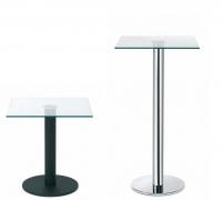 """Mesa auxiliar cuadrada - Mesa auxiliar """"Tau"""" Mesas auxiliares fabricadas con tubo metálico redondo y base acabados grafito, negro y cromo con cristal templado en formato cuadrado."""