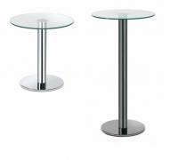 "Mesas auxiliares redondas - Mesa auxiliar ""Tau"" Mesas auxiliares fabricadas con tubo metálico redondo y base acabados grafito, negro y cromo con cristal templado en formato redondo."