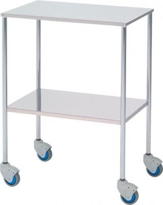 Mesa auxiliar - - Mesa auxiliar  - Estructura acero cromado , entrepaño superior e inferior lisos en acero inoxidable - Cuatro ruedas para su mejor desplazamiento - Medidas: 60 ancho x 40 fondo x 80 alto