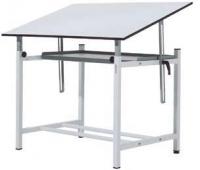 Mesa dibujo - Mesa de dibujo para arquitectos. Estructura metálica de gran resistencia apta para trabajar completamente plano a 78cm o como mesa de dibujo. Incorpora bandeja de serie debajo del tablero asi como niveladores.