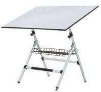 Mesa dibujo - Mesa de dibujo.  Estructura metálica apta para trabajar con tableros y tecnígrafos medianos.  La regulación del tablero se ejecuta mediante muelles.  Incorpora nivelador.  Fácil montaje.