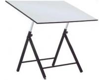 Mesa dibujo - Mesas de dibujo para estudiante.  Estructura metálica apta para trabajar con tableros y tecnígrafos pequeños.  La regulación del tablero se realiza mediante fuerza. I ncorpora nivelador.  Fácil montaje.