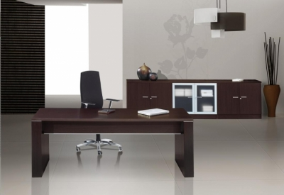 Light-office-room-in-dark-tones-with-brown-table-and-black-chair