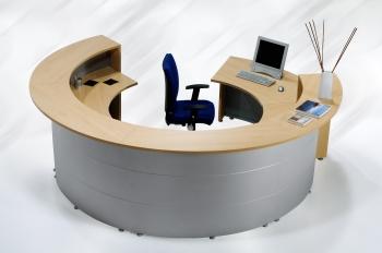 Mostrador circular - Mostrador de recepci�n circular. Frontal met�lico, tambien disponible en blanco. Tapa de mostrador independiente, color a elegir. Pata redonda.