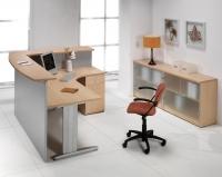 Mostrador / Recepci�n - -Mostrador  (2)en L para recepciones de 180cm de ancho x 40 cm de profundidad x 109cm de alto -Mesa curva de 180x120cm de largo x 80x60cm de ancho x 74cm de alto -Incluye embellecedores y cogidas a la mesa de oficina
