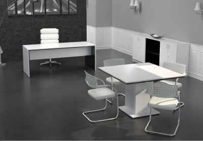 Mobiliario de diseño mesas blanca y negra - Como se puede observar en la fotografía en este caso combinamos el color blanco en la parte superior con el negro en la parte inferior, pero podría ser al revés ( negro superior y blanco inferior) La mesa de reuniones que en te caso es de 120 x 120 cm. esta disponible también en 200 y 250 cm. por 120 cm. de ancho. Para completar el despacho de diseño tenemos los armarios a juego, en este caso son armarios bajos (de 90 x 70 cm.) con o sin puertas, por supuesto existe toda una gama de armarios medios y altos, incluso con puertas de cristal para amueblar el despacho en consonancia con sus necesidades.