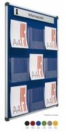 Portafolletos expositor mural o pared  - Portafolletos murales y/o con pié Portafolletos de metacrilato DIN A4 y 1/3 DIN A4 montados sobre tableros tapizados en téxtil y enmarcados con perfil de aluminio. Bajo presupuesto pueden fabricarse combinaciones con formatos de cajetines (Din A4, A5 y tríptico).Rótulo no incluido.