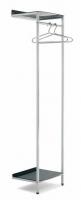 Perchero mural - Perchero mural con estante Perchero mural fabricado en tubo cuadrado acabado inox pulido brillante. La parte inferior incorpora un estante de plexi disponible en blanco satinado, naranja y negro.