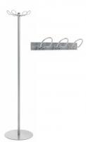 """Perchero - Perchero. Perchero """"LN"""" fabricado con estructura metálica desmontable, base metálica pintada en color gris y en la parte superior tiene 4 perchas fijas. La versión mural está disponible en color gris para 2 y 3 perchas."""