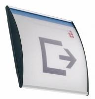 Pictograma perfil curvo - Pictograma y directorio perfil curvo Rótulos de perfil curvo para pictogramas murales. Está fabricado con perfil de aluminio anodizado en color plata mate. El soporte permite la incorporación del papel (pictograma o texto). Mediante una ventosa especial se puede levantar el plástico protecto.