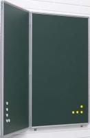 Pizarras murales verdes dípticas - Pizarras murales verdes dípticas Pizarra mural díptica verde de acero vitrificado enmarcada con perfil de aluminio anodizado en color plata mate y cantoneras redondeadas de plástico gris. Posee 3 superficies de escritura con tiza. * Incluye cajetín reposarrotuladores de 30 cm.