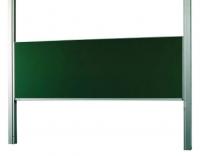 Pizarras de guillotina simples - Pizarra de guillotina simple Pizarra verde/blanca de Acero vitrificado sobre una estructura de aluminio anodizado en plata mate montada sobre suelo y pared. La pizarra se desliza y va guiada en el perfil por transmisión de cables y rodamientos de nylon. Ideales para colegios, universidades, anfiteatros, salas de formación…