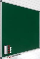 Pizarras murales verdes de acero vitrificado - Pizarra mural verde de acero vitrificado Pizarra mural verde enmarcada con perfil de aluminio anodizado en color plata mate y cantoneras redondeadas de plástico gris. Superficie magnética de acero vitrificado a 800 ºC para escritura con tiza. Incluye cajetín reposarrotuladores de 30 cm. Fabricadas en una pieza. Disponible en 4 colores: verde, azul, negro y gris.