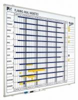 Planning anual magn�tico - Planning magn�tico Planning mural blanco serigrafiado, rotulable con rotuladores de borrado en seco, enmarcado con perfil de aluminio anodizado en color plata mate y cantoneras redondeadas grises. Incluye un cajet�n reposarrotuladores de 30 cm.
