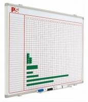 Planning magnético - Planning magnético Planning mural blanco serigrafiado, rotulable con rotuladores de borrado en seco, enmarcado con perfil de aluminio anodizado en color plata mate y cantoneras redondeadas grises. Incluye un cajetín reposarrotuladores de 30 cm.