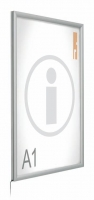Portapósters Caja de luz ( iluminación Led ) - Caja de luz (Led) Caja de luz mediante leds con marco abatible de aluminio anodizado en plata mate. Permite la sustitución del impreso de una manera rápida y cómoda. Incorpora plástico transparente anti-reflex. Disponible en formatos Din y Póster.
