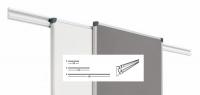 Railes para pizarras y/o tableros de anuncios - El sistema de railes permite mediante un perfil de aluminio lacado blanco, fijado a la pared, permite colgar en sus dos carriles, pizarras, tableros, etc� desplazarlos longitudinalmente y hacer posible cualquier tipo de presentaci�n, etc�