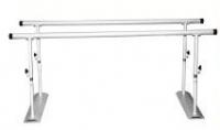 Paralelas plegables - Paralelas plegables. Fabricadas en Acero esmaltado epoxi. Pasamanos recubiertos de PVC. Regulables en altura manualmente mediante tirador. Plegables en cualquier posición. Largo de 2 metros, 2.5 metros ó 3 metros