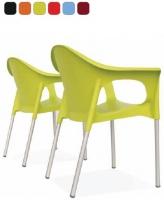 Silla - Silla apilable Carcasa en polipropileno reciclable y estructura en aluminio. Se presenta en una amplia gama de atractivos colores  Es apilable para una mayor comodidad de uso.