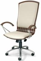Sillón de oficina - Sillón de dirección, mecanismo relax. Fabricado en madera de haya maciza, base aluminio cromado, brazos y patín combinados en madera y cromo.