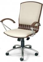 Sill�n de oficina respaldo bajo - Sill�n de direcci�n, mecanismo relax. Fabricado en madera de haya maciza, base aluminio cromado, brazos y pat�n combinados en madera y cromo.