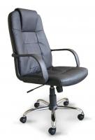 Sill�n Direcci�n en piel - Sill�n de Direcci�n - Sill�n de asiento y reslpado en piel color negro, base cromada con ruedas de 5 radios y elevaci�n a gas. Dimensiones de la Silla: W620 x D720 x H1100-1180 mm