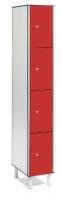 Taquilla fenólica 4 puertas - Taquilla fenólica con perfil de aluminio. Formada a base de láminas de celulosa homogeneizada con resinas fenólicas y compactadas. Núcleo interior negro. Patas de PVC con niveladores. Expesor puerta de 10 y 12 mm.  Perfil resistente a la oxidación. Herrajes y tornillería de acero inox.