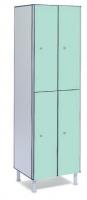 Taquilla fenólica con 2 puertas - Taquilla fenólica con perfil de aluminio. Formada a base de láminas de celulosa homogeneizada con resinas fenólicas y compactadas. Núcleo interior negro. Patas de PVC con niveladores. Perfil resistente a la oxidación. Herrajes y tornillería de acero inox. Expesor puerta de 10 y 12 mm.