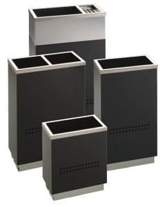 Cenicero papelera y paragüero - Colección de complementos para oficinas y lugares públicos, compuesto de papelera, papelera selectiva de residuos, paragüero y cenicero-papelera.