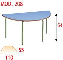 Mesa semicírculo infantil - Estructura de tubo de acero 30x1,2 cromada o pintada con Epoxy-poliéster verde Ral 6011. Tapa en DM laminado con cantos redondeados barnizados con poliuretano. 120x60x46, otras medidas consultar.