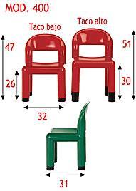 Silla infantil - Totalmente realizada en polipropileno. Disponible en 4 colores y 2 alturas.
