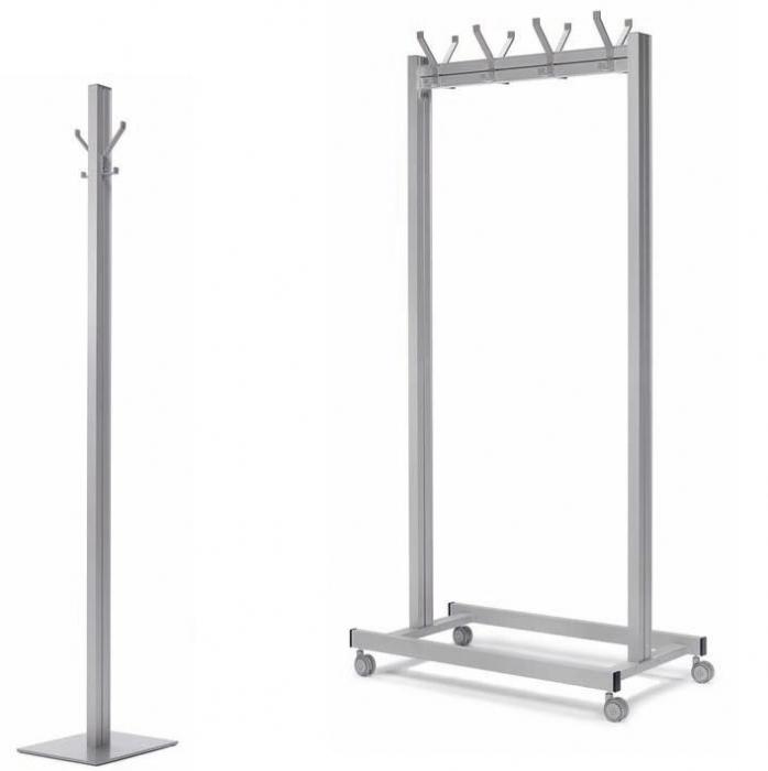 Perchero de ruedas y pi muebles de oficina sillas de for Ganchos metalicos para percheros