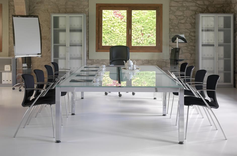 Mesa de oficina con ala auxiliar sobremesa de cristal y for Mesa cristal oficina