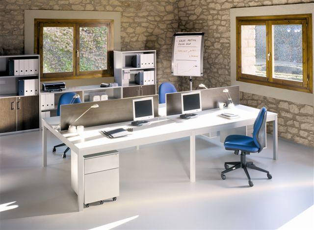 Mesa de oficina para 4 puestos unidos | Mobiliario de oficina | Mobiofic.com