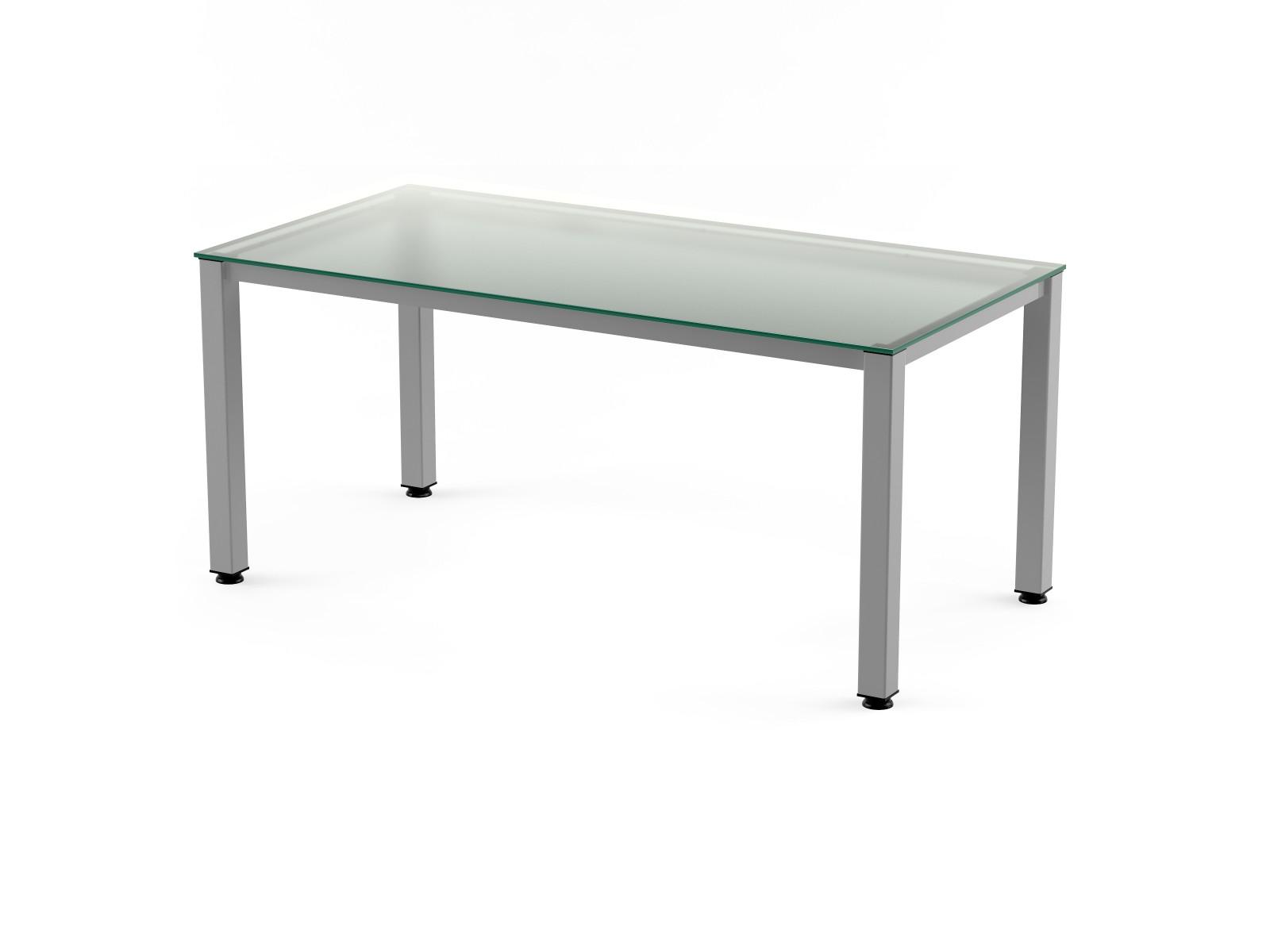 Mesa de oficina cromada y tablero de cristal   muebles de oficina