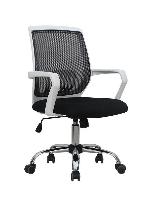 Silla de oficina blanca con respaldo en malla | Sillones de oficina |  Mobiofic