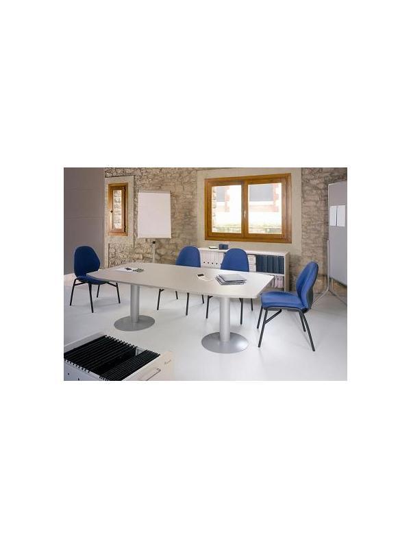 Mesa de reunión de 100 x 220 pata metálica - Mesa de reunión.Estructura de melamina con canto de PVC de 2 mm de grosor. Cantos redondeados. Patolas de metal. Medidas: 220x100