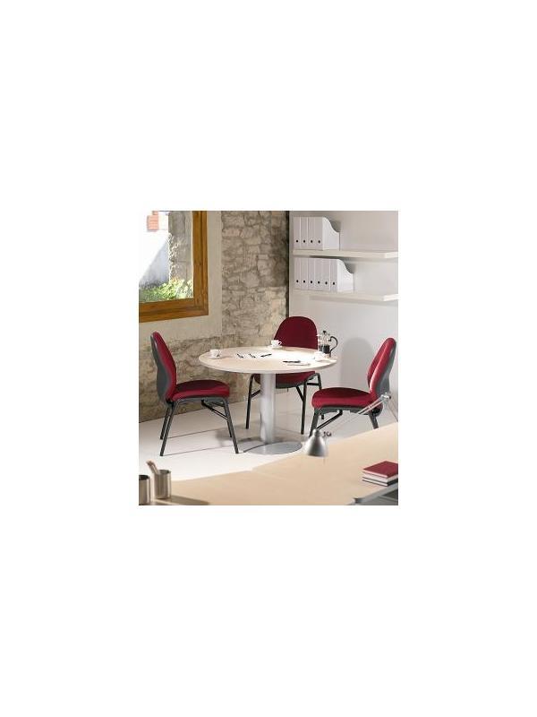 Mesa de reunión redonda con pata de metal - Mesa de reunión redonda con pata de metal, estructura de melamina con canto de PVC de 2 mm de grosor. Cantos redondeados. Pata de metal. Medidas: 100 cm