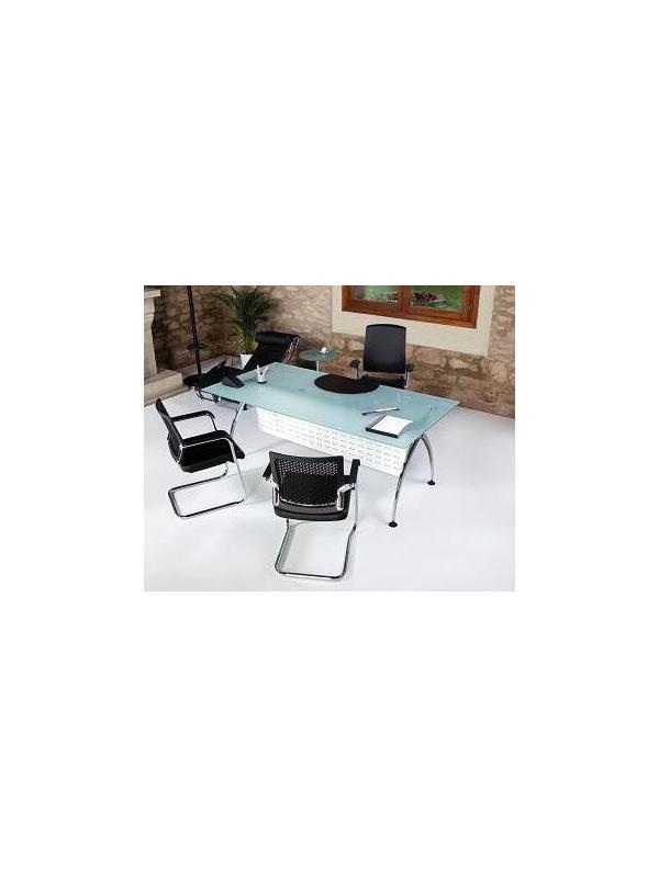 Mesa recta patas cromadas y cristal  - Mesa recta de 120cm de largo x 80cm de ancho x 74cm de alto.