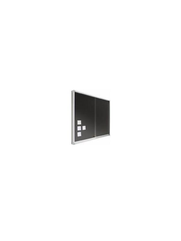 """Vitrina de anuncios. - Vitrina """"Zénit"""" de corcho tapizado Vitrina de anuncios Zénit enmarcada con perfil de aluminio anodizado en color plata mate (tapa personalizable). Puertas correderas de metacrilato y cerradura con llave. Superficie de corcho tapizada en color."""