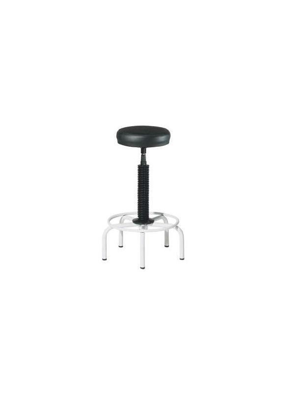 taburete  - Taburetes con estructura metálica y base de 5 pies. El asiento redondo de 30 cm de diámetro regulable en altura mediante husillo giratorio. Fácil montaje.  RUEDAS OPCIONALES : 22€