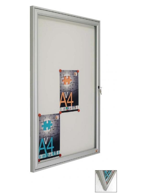 Vitrina para exterior pequeña - Vitrina de anuncios mural exterior con marco de aluminio en color plata mate, puerta abatible de cristal templado y cerradura con llave. Fondo con base magnética blanca. Estanca a la lluvia, permitiendo su colocación a la intemperie.