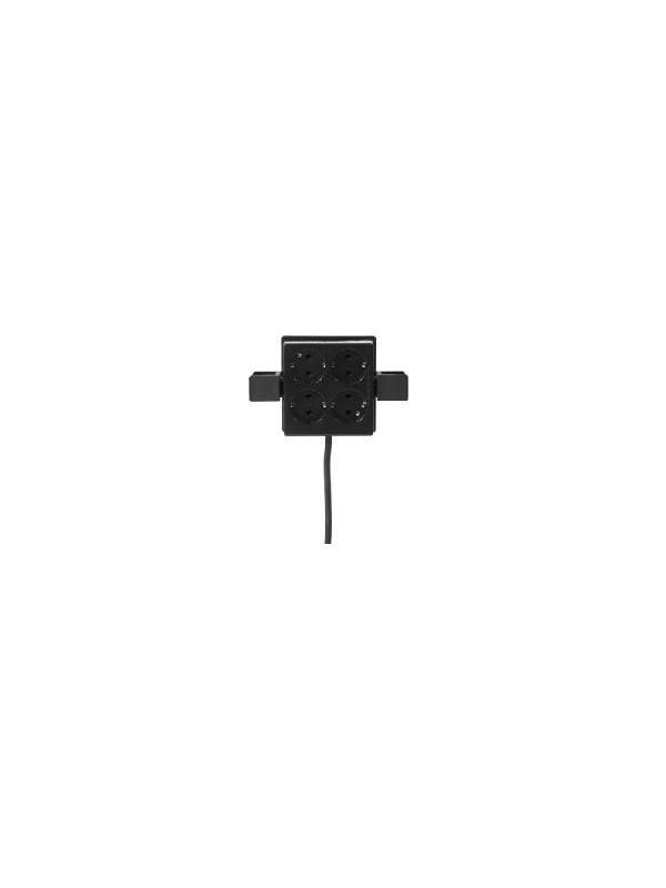 Enchufe múltiple - Enchufe múltiple con autosujección a las columnas de las mesas Systemtronic que facilita un buen sistema de organización y ahorro de espacio. Color negro.