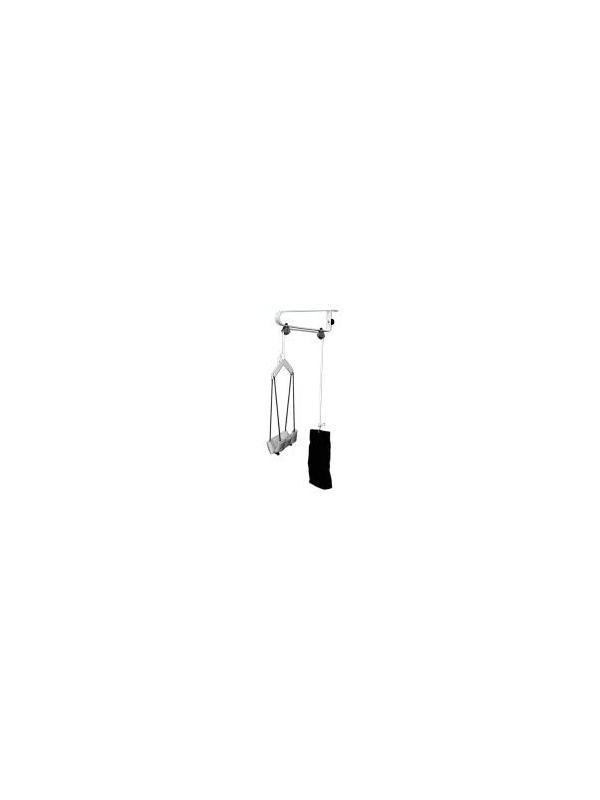 Aparato de tracción cervical - Aparato de tracción cervical adaptable a puerta. Fabricado en Acero esmaltado epoxi. Consta de mentonera, percha y saco lastrado