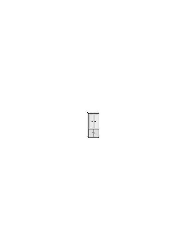 Armario alto puertas cristal y puertas bajas - Armario de oficina bajo con puertas superiores de cristal + puertas bajas. 4 estantes regulables.  Con marco en aluminio y cerradura. Medida: 196 alto x 90 ancho x 42 fondo