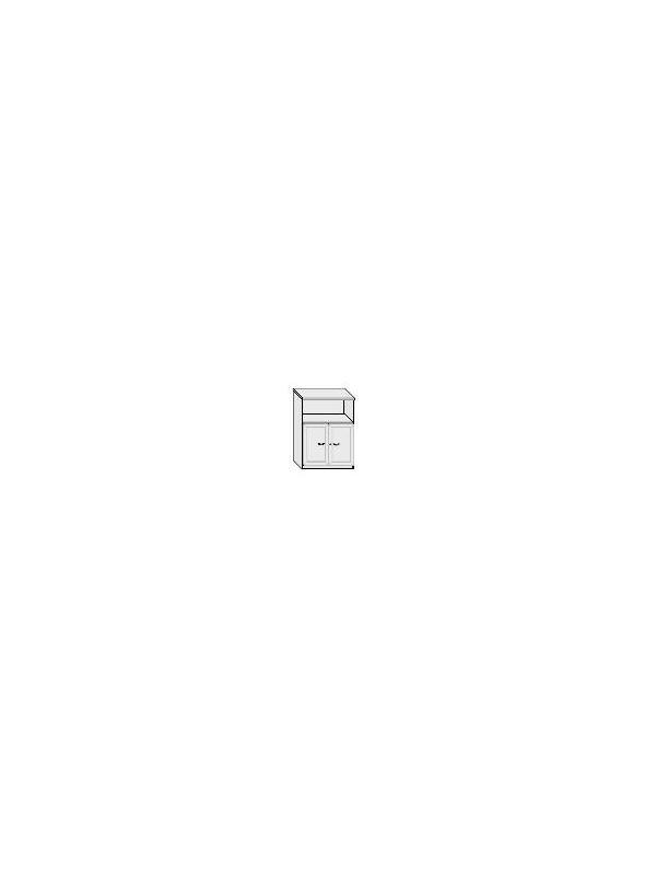 Armario puertas de cristal con marco - Armario de oficina bajo con puertas de cristal. 1 estante regulable.  Marco de aluminio y cerradura. Medida: 106 alto x 92 ancho x 40 fondo