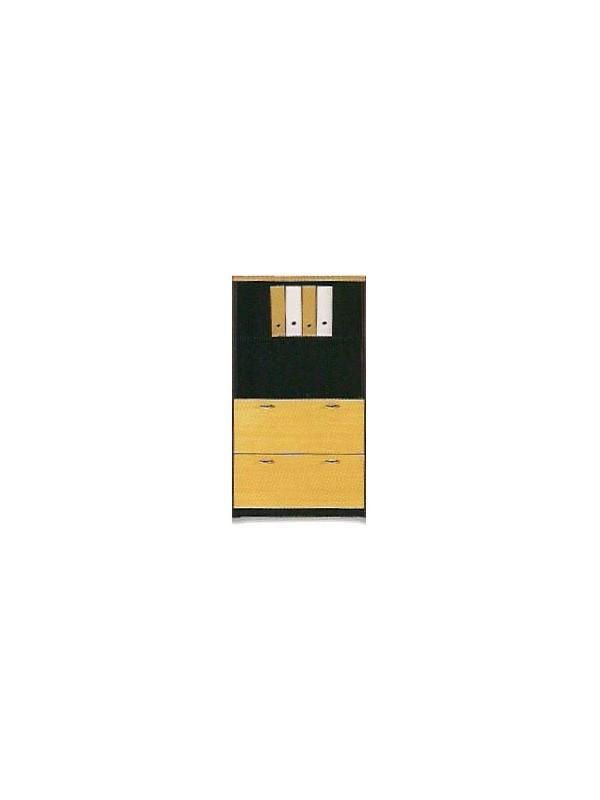 Armario de oficina mediano doble archivo 148*80*40 - Armario de oficina archivador mediano doble archivo DIN A-4 con 2 estantes y cerradura de 148cm de alto x 80cm de ancho x 40cm de profundidad.