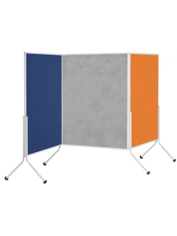 Biombo tapizado en ARAN de 120 X 195 cm. - Biombo tapizado. Medidas 120 cm. de ancho x 195 cm. de alto. Separador móvil de estructura metálica y superficie blanda para chinchetas y notas. Gracias a su resistente  superficie reduce la sonoridad. Incluye las patas con ruedas. Tapicería en color azul o gris. Permite múltiples combinaciones modulares lineales o angulares realizadas mediante la pata simple de unión.