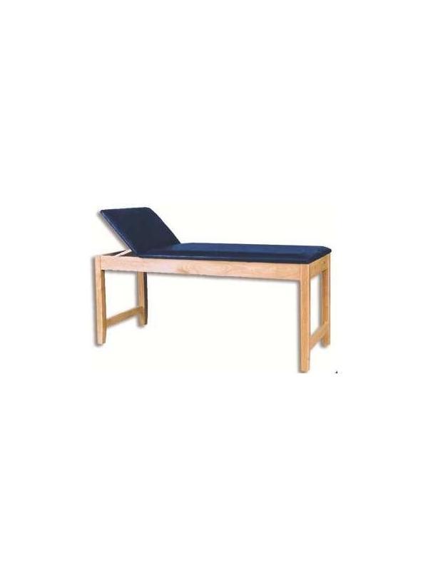 Mesas de exploración - Mesa de reconocimiento. Estructura de madera de haya barnizada. Altura fija. Cabezal abatible manualmente mediante cremallera.