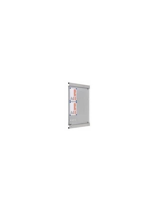 """Vitrina de anuncios. - Vitrina de chapa """"Delhi"""" Vitrina mural de chapa acero inoxidable para interior de gran diseño y estética. Fondo magnético para adaptar imanes y cristal abatible con cerradura y llave. Las vitrinas pueden adosarse una al lado de la otra formando un gran mural de la medida deseada."""
